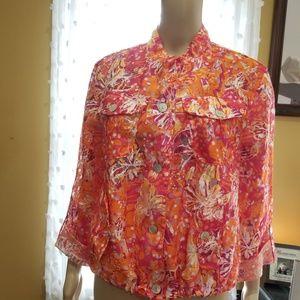 Sheer fuschia tangerine top layer/jacket